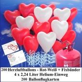 Luftballons zur Hochzeit steigen lassen, 200 rote und weiße Herzluftballons Helium-Einweg Set mit Ballonflugkarten