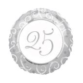Luftballon zur Silbernen Hochzeit, Zahl 25, 25 Jahre verheiratet