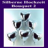 Bouquet 2 zur Silbernen Hochzeit, silberne Herzluftballons aus Folie mit Ballongas-Helium