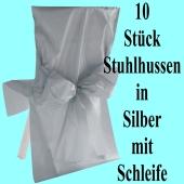 Stuhlhussen, Silber, mit Schleife, 10 Stück