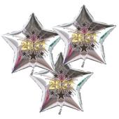 Silvester Bouquet bestehend aus 3 Sternballons in Silber mit Helium, 2021 Feuerwerk