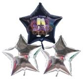 Silvester Bouquet bestehend aus 3 Sternballons in Silber und Schwarz mit Helium, 2020 Feuerwerk