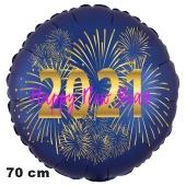 Großer Silvester Luftballon: 2021 Feuerwerk Satin de Luxe, blau, 70 cm