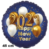 Silvester Luftballon: 2021 Happy New Year Satin de Luxe, blau, 45 cm