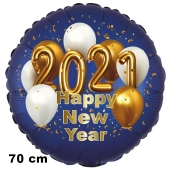 Großer Silvester Luftballon: 2021 Happy New Year Satin de Luxe, blau, 70 cm