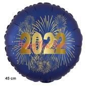 Silvester Luftballon: 2022 Feuerwerk Satin de Luxe, blau, 45 cm