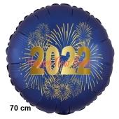 Großer Silvester Luftballon: 2022 Feuerwerk Satin de Luxe, blau, 70 cm