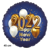 Silvester Luftballon: 2022 Happy New Year Satin de Luxe, blau, 45 cm