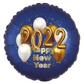 Großer Silvester Luftballon: 2022 Happy New Year Satin de Luxe, blau, 70 cm