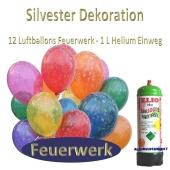 Silvester Dekoration: 12 Luftballons Feuerwerk, 1 Liter Helium Einweg