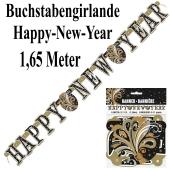 Dekoration Silvester Buchstabengirlande Happy New Year, Silvesterdeko, Neujahrs-Girlande