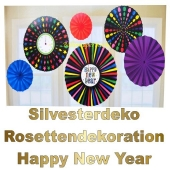 Silvester Dekoration Rosetten Happy New Year