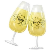 Silvester-Folienballons Happy New Year Champagnergläser