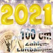 Zahlendekoration Silvester 2021, gelb, 1 m grosse Zahlen, befüllbare Ballons aus Folie