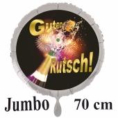 Silvester Luftballon aus Folie mit Helium: Überschäumender Champagner mit Feuerwerk und Glückssymbol