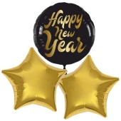 "1 Helium-Luftballon Bouquet ""Happy New Year"" und 2 goldene Sternballons"