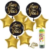 Dekoration Silvester: 9 Luftballons 3 x Happy New Year und 6 goldene Sternballons mit 1 Liter Ballongas Einweg