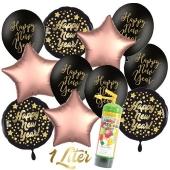 Dekoration Silvester: 11 Luftballons Happy New Year mit 1 Liter Ballongas Einweg