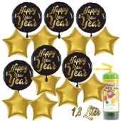 Dekoration Silvester: 15 Luftballons 6 x Happy New Year und 9 goldene Sternballons mit 1,8 Liter Ballongas Einweg