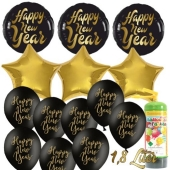 Dekoration Silvester: 19 Luftballons 3 x Happy New Year, 3 goldene Sternballons und 13 Latexballons mit 1,8 Liter Ballongas Einweg