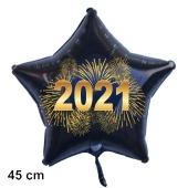 Silvester Luftballon, Sternballon aus Folie, 2021 - Feuerwerk