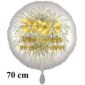 Silvester Luftballon: 2021 Viel Glück im neuen Jahr! Satin de Luxe, weiß, 70 cm