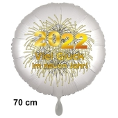 Silvester Luftballon: 2022 Viel Glück im neuen Jahr! Satin de Luxe, weiß, 70 cm