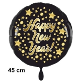 Silvester Luftballon: Happy New Year schwarz-gold, 45 cm