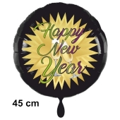 Silvester Luftballon: Happy New Year schwarz-gold, Stern und Sekt, 45 cm