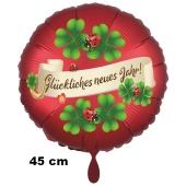 Silvester Luftballon: Glückliches Neues Jahr! Satin de Luxe, rot, 45 cm