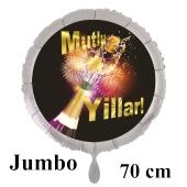 Mutlu Yillar! Silvester Luftballon aus Folie ohne Helium: Überschäumender Champagner mit Feuerwerk und Glückssymbol