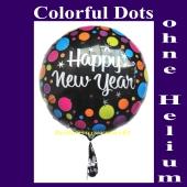 Silvester Luftballon, Happy New Year, Ballon ohne Helium zur Silvesterdekoration, Partydekoration Silvester auf Veranstaltungen und Silvesterfeiern