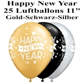 Luftballons zu Silvester und Neujahr, Happy New Year, gold, silber, schwarz, 25 Stück
