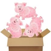 Silvester Luftballons aus Folie mit Helium: 3 große Glücksschweinchen