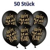 Luftballons Silvester, Happy New Year, schwarz-gold, 50 Stück