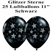 Luftballons zu Silvester und Neujahr, Glitzernde Sterne, schwarz, 25 Stück