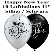 Luftballons zu Silvester und Neujahr, Happy New Year, silber-schwarz, 10 Stück