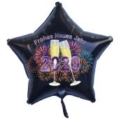 Schwarzer Silvester Luftballon, Sternballon aus Folie, 2020 - Feuerwerk und Champagner
