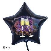 Schwarzer Silvester Luftballon, Sternballon aus Folie, 2021 - Feuerwerk und Champagner