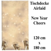 Tischdecke Silvester Dekoration, Cheers New Year, 120 x 180 cm, Airlaid