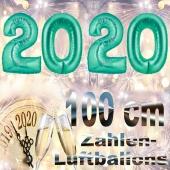 Silvester 2020, aquamarin,1 m grosse Zahlen, befüllbare Ballons aus Folie