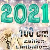 Silvester 2021, aquamarin,1 m grosse Zahlen, befüllbare Ballons aus Folie