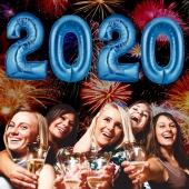 Zahlendekoration Silvester 2020, silber, 1m große Zahlen, Luftballons aus Folie