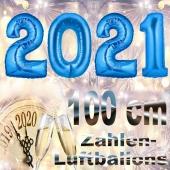 Zahlendekoration Silvester 2021, silber, 1m große Zahlen, Luftballons aus Folie
