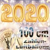 Zahlendekoration Silvester 2020, gold, 1 m grosse Zahlen befüllbare Ballons aus Folie