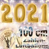 Zahlendekoration Silvester 2021, gold, 1 m grosse Zahlen befüllbare Ballons aus Folie