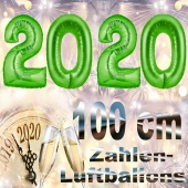 Zahlendekoration Silvester 2020, grün,1 m grosse Zahlen, befüllbare Ballons aus Folie