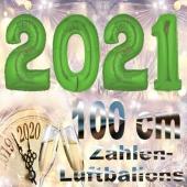 Zahlendekoration Silvester 2021, grün,1 m grosse Zahlen, befüllbare Ballons aus Folie