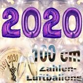 Zahlendekoration Silvester 2020, lila,1 m grosse Zahlen, befüllbare Ballons aus Folie