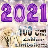 Zahlendekoration Silvester 2021, lila,1 m grosse Zahlen, befüllbare Ballons aus Folie